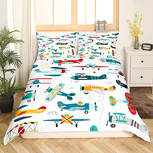 Airplane Cartoon Comforter Cover Set Aircraft Flying Duvet Cover for Kids...