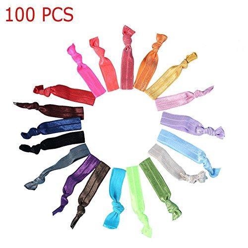 Candora®, nastro colorato elastico con nodo per capelli, 100pezzi, fascia elastica per fare la coda, elastici per capelli, accessori per capelli, da donna e ragazza