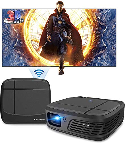 Pico Mini DLP WiFi Projector, 3D Projector 3300 Lumen Support Full HD 1080P, Pocket Size Projector with Built-in Batterry, ±40° Auto Keystone, Stereo Speakers, Wireless Proyector for Smartphone
