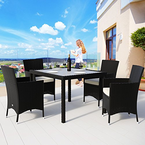 Deuba Black Polyrattan Garden Furniture Set 4 Stackable Chairs 1 Table with Glass Top 4 Cushions Cream