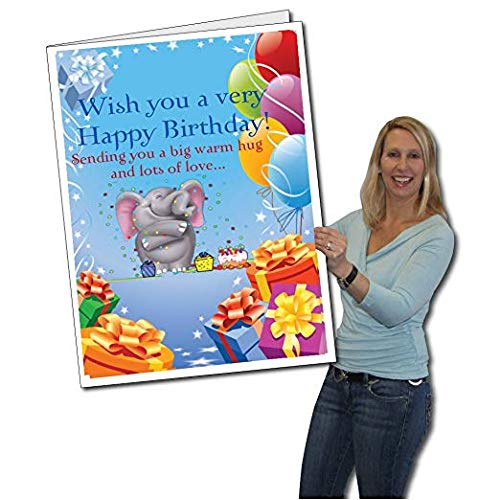 VictoryStore Jumbo Greeting Cards: Huge Birthday Card (Elephant), 2 feet x 3 feet Card with Envelope