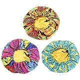 Lurrose 3Pcs Enfants Bonnets en Satin Motif Coloré Bonnet de Nuit Double Couche Chapeaux de Nuit Réglables pour Cheveux Naturels (Coloré)
