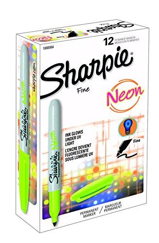 Sharpie Fine Tip Marcador permanente - verde de neón (paquete de 12)