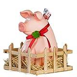 Cochon Jimmy avec étable et paille - Tirelire en céramique - XXL
