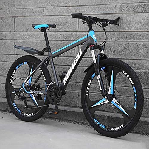 WLKQ Pieghevole Mountain Bike, MTB, Bici Biammortizzata, 26 velocità Doppia Sospensione Biciclette, Telaio in Acciaio ad Alto Tenore di Carbonio Mountainbike, Adulti Bike,Blue 3 Spoke,21 Speed