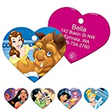 GoTags Disney Beauty and The Beast Princess Belle Dog Tags for Pets, Personalized Engraved Dog ID Tags with up to 4 Lines of Custom Text