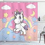 Femininer Duschvorhang,Einhorn mit Regenbogen- & Musiknoten Wolken im Himmel Kunstdruck,Stoff Stoff Badezimmer Dekor Set mit Haken,152X183CM Pink Gelb