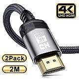 4K HDMI Kabel [2Stück 2m], Sweguard HDMI 2.0 auf HDMI Kabel 4K@60Hz 18Gbps Nylon Geflechtkabel, vergoldete Anschlüsse mit Ethernet/Audio Rückkanal,kompatibel Video 4K UHD 2160p,HD1080p,XboxPS4 (gray)