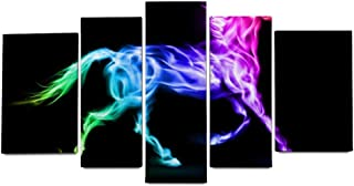 YATELI 5 Panels for Bedroom Kitchen Home Decorations Giclee Leaf Stretched and Framed Abstract Rainbow Animal Unicorn Colorful Wall Art Canvas Prints