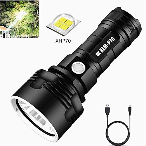 Led Torch Rechargeable, Super Bright 5000 Lumen Handheld Torch High Power Tactical Torch Waterproof Flashlight With Power Display For Camping