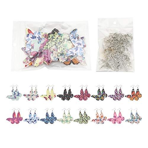 DAXINYANG Colorful Linght Pendientes Que Hace Kits Set Material DE Cuero DE PU para Mujeres DE DIY DIY Hallazgos de joyería Navidad Drop COLVANTES Pendientes, 1 Set (Metal Color : 10 1set(16Pairs))