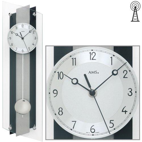 AMS - - Wanduhr - jg-39014 Mehrfarbig (Schwarz/Silber)