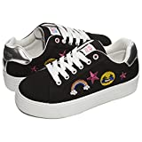 Limited Too Kids Girls Low Top Lace Up Fashion Sneakers (See More Sizes) Black Multi