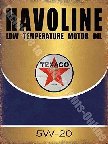 Havoline Aceite De Motor Texaco Garaje Vintage Metal/Cartel De Acero Para Pared - acero, 15 x 20 cm