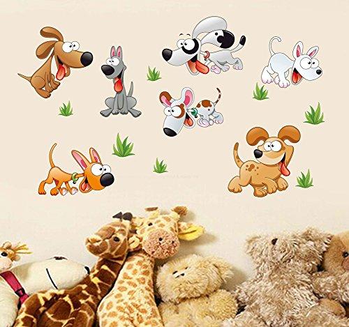 Wallpark Dibujos animados Encantador Perros Desmontable Pegatinas de Pared Etiqueta de la Pared, Bebé Niños Hogar Infantiles Dormitorio Vivero DIY Decorativas Arte Murales