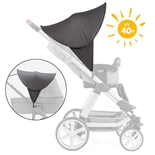 Zamboo Kinderwagen Sonnenschutz Universal - Baby Sonnenverdeck für Buggy & Sportwagen - XL Pop-Up Sonnendach mit UV Schutz 40+ und Tasche - Grau