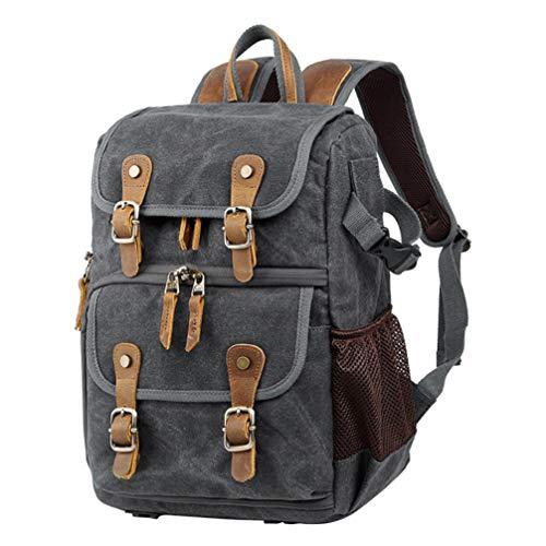 FENICAL Vintage Kamera Rucksack gewachst wasserdicht große Kapazität Leinwand Foto Rucksack Tasche für Laptop-Camcorder (grau)
