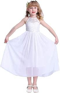 Girls Lace Party Wedding Long Chiffon Junior Bridesmaid Dress