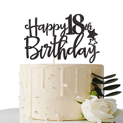 Maicaiffe Black Glitter Happy 18th Birthday Cake Topper,Hello 18, Forever 18 Party Decoration