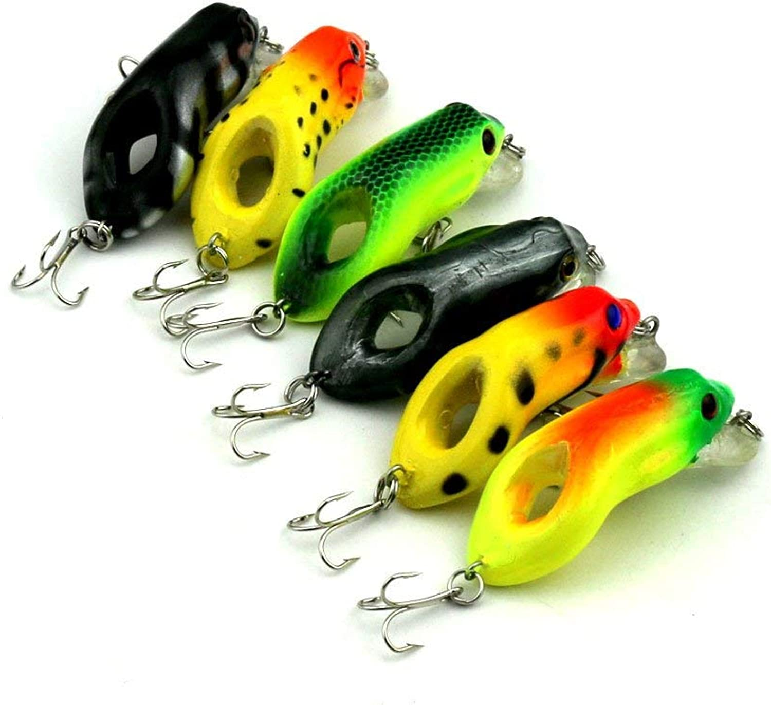 6 colors in one Set   6pcs Set 5.5cm 2.17in 8.7g 0.31oz Hard Fishing Lure Salmon Hole Artificial Fish Bait with Sharp Barbed Hooks Yellow Black Green