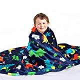 Mermaker Dinosaurs Blanket with Double Sided, Reversible Kids Flannel Throw Blanket with Dinosaur Pattern for Teens, Children and Toddler, Soft Cozy Sofa, Bed and Couch Fleece Blanket (50'x60')