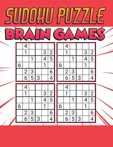Sudoku Puzzle Brain Games: 500 PUZZLES SUDOKU WITH SOLUTION - Ultimate Challenge Collection of Sudoku Problems - Best Sudoku Puzzle Book For Kids ( Orange )