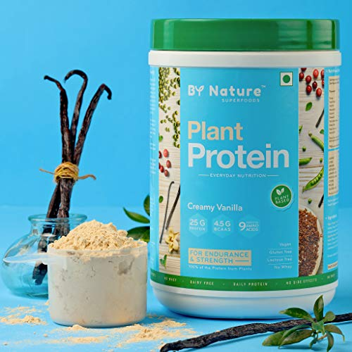 By Nature Plant Protein Powder, 500g (Creamy Vanilla) for Women & Men, Pea + Brown Rice + Mung Bean Protein, Vegan, All Natural, 25g Protein, No Added Sugar, No Whey, Non Dairy, Soy-free, Lactose-free