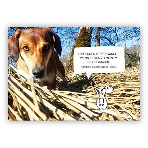 De 5-delige set foto spreukkaart met hond en muis: een tegenstander verdwijnt als ik hem tot mijn vriend doet. Abraham Lincoln (1809-1865)