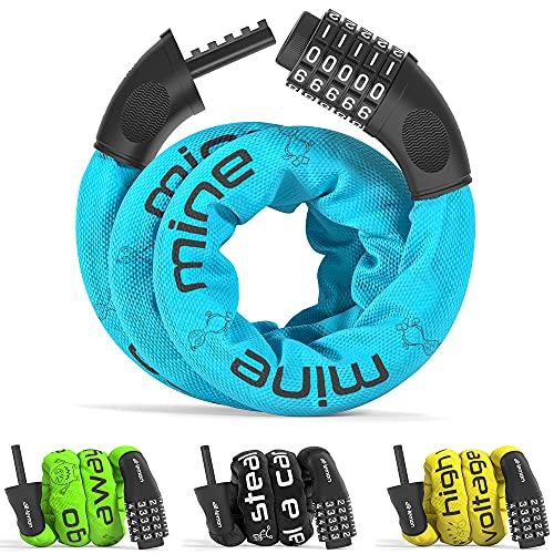 Candado Bicicleta con Código de Número y Cadena de Acero | Cerradura Seguridad Cable 5 dígitos combinacion amarre antirrobo | bici moto biciclo scooter fuerte largo adulto ninos valla puerta puerta