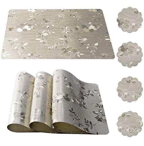 Qualsen Paquete de 4 Mantel Individual y Portavasos, Manteles Individuales Plastico, Individuales de Mesa, PVC Antideslizantes Mantel Conjunto