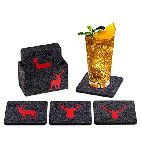 Elegante set di sottobicchieri in feltro Wild, colore antracite/rosso, 9 pezzi, per vino, birra, cocktail