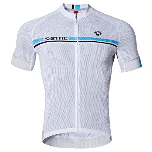 Santic Maillot Ciclismo Hombre Maillot Bicicleta Hombre Camiseta Ciclismo con Mangas Cortas Blanco EU M