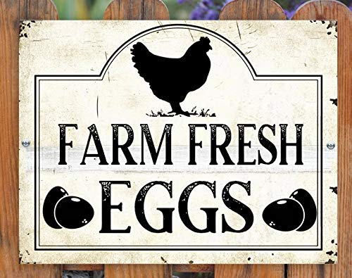 "Cheyan Farm Fresh Eggs Sign Horizontal Outdoor Chicken Coop Sign for Garden House Home Motel Cafe Restaurant Best Gift 8"" x 12"""