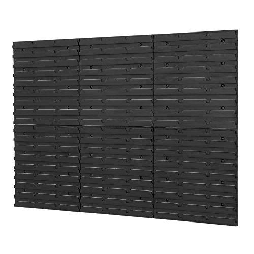 6 Stück Wandplatten Wandregal Lochplatte Stapelboxen Lagerregal Regalsystem Regalsystem Wandtafel schwarz