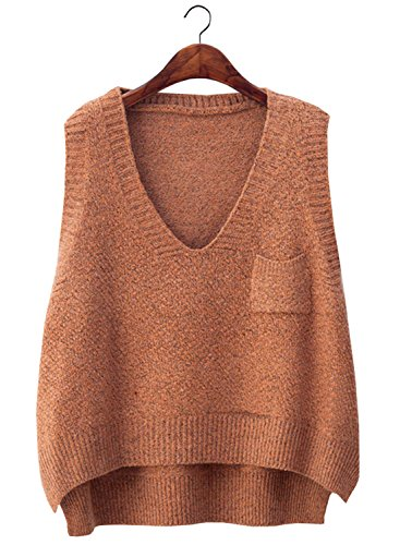 futurino Women's Boxy Solid Color Low V Neck Marled Knitted Sweater Vest Tops Khaki