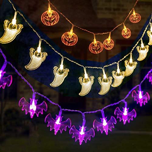 Qedertek Halloween Dekoration Lichterkette, 3 Stück Batterie Lichterketten Außen 20 LED Lichterkette mit Kürbis, Geister, Fledermaus Anhänger für Halloween Party Deko (Orange/Weiß/Lila)
