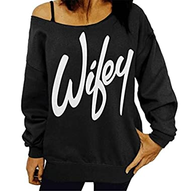 Lyxinpf Women's Sexy Off Shoulder Sweatshirts Wifey Slouchy Shirts Loose Sweaters Long Sleeve Pullover Tops Wifey M