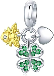 Charm in argento 925 con ciondolo a forma di pappagallo in argento 925 e ciondolo a forma di ape e bicicletta per gioielli...