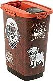 Rotho Cody, Recipiente de comida para mascotas de 25 litros con tapa y vertedor, Plástico PP sin BPA, marrón, naranja, 25l 33.0 x 25.0 x 46.3 cm