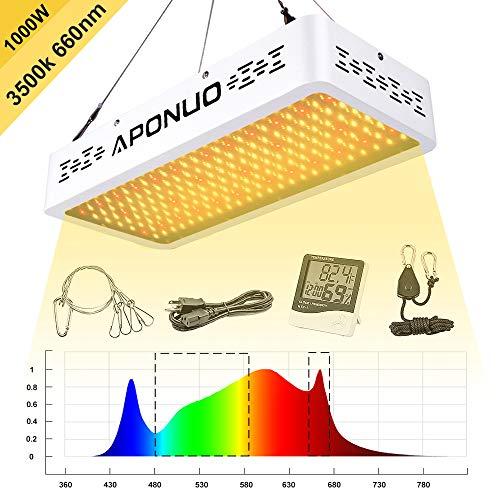 APONUO Led Grow Light 1000W Full Spectrum Sunlight 3500K White and 660nm...