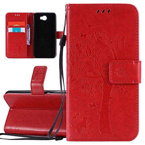 ISAKEN Hülle für Huawei Y5 II, PU Leder Brieftasche Geldbörse Wallet Hülle Ledertasche Handyhülle Tasche Schutzhülle Etui mit Handschlaufe Strap für Huawei Y5 II / Y6 II Compact - Baum Katze Rot