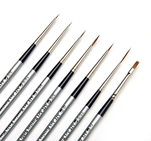 AIT Art Select Red Sable Detail Brush Set, 7 Pure Russian Sable Paint Brushes, Handmade in Germany for Crafting Exquisite Details Using Oil, Acrylic, or Watercolors