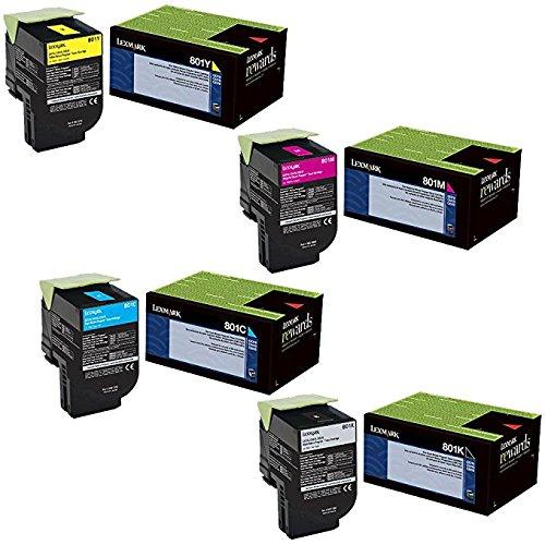 Lexmark 80C10C0, 80C10K0, 80C10M0, 80C10Y0 Standard Yield Toner Cartridge Set
