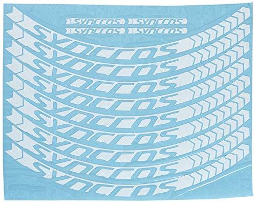Ecoshirt C8-TRO8-5V3P Pegatinas Stickers Llanta Syncross 26' 27,5' Am47 MTB Downhill, Blanco 29'