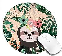 マウスパッド 円型 ナマケモノ 熱帯 葉 花 キュート ゲーミングマウスパッド ゴム底 光学マウス対応 滑り止め 耐久性が良い おしゃれ かわいい 防水