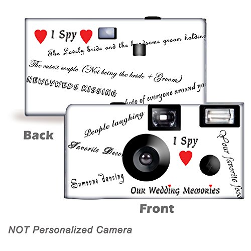 5 Pack I SPY Disposable Cameras, Wedding Camera, Anniversary Camera, Sweet 16, Quinceañera, party cameras from CustomCameraCollection WM-53421-C