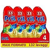 Pril Pril Gold - Gel limpiador de grasa para lavavajillas Gel, 4 paquetes de 33 lavados (132 lavados) – 2880 g