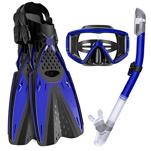 Conjunto de Snorkel de Tres Piezas, Conjunto de Buceo, Gafas de Buceo, Snorkel, Aletas, Conjunto de Equipo de Buceo para nataciónFlippers