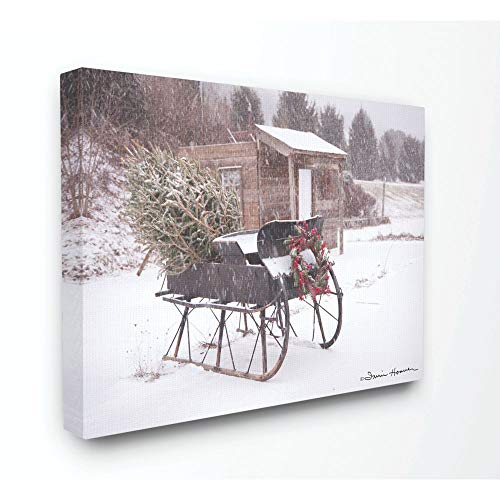 Stupell Industries Snow Sleigh with Tree and Wreath Photograph Canvas Wall Art, 24 x 30, Multi-Color