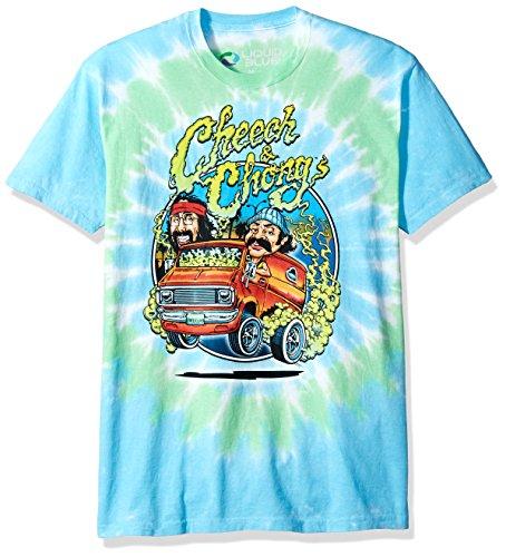 Liquid Blue unisex adult Cheech and Chong Smokin' Ride Tie Dye Short Sleeve T-shirt T Shirt, Multi Colored Tie Dye, Medium US